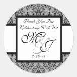 Etiquetas grises personalizadas del favor del boda pegatina redonda