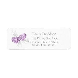 Etiquetas grises púrpuras de la contestación del etiqueta de remite