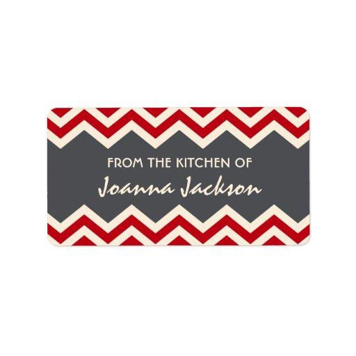 Etiquetas grises rojas de la cocina del modelo del etiqueta de dirección