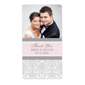 Etiquetas grises rosadas del boda de la foto del d etiqueta de envío