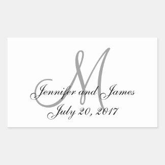 Etiquetas grises y blancas del boda del rectángulo pegatina rectangular