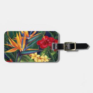 Etiquetas hawaianas del equipaje del paraíso tropi etiqueta para maleta