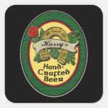 Etiquetas hechas en casa de encargo de la cerveza colcomanias cuadradas