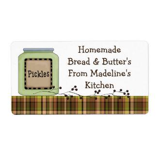 Etiquetas hechas en casa del tarro de la salmuera etiqueta de envío