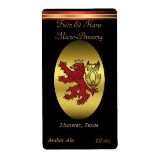 Etiquetas hechas hogar rojo de la cerveza del león etiqueta de envío
