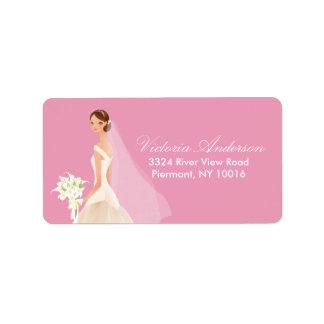 Etiquetas hermosas del remite de la novia etiquetas de dirección