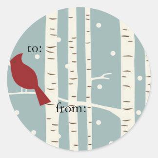etiquetas hivernales del regalo del árbol de pegatina redonda