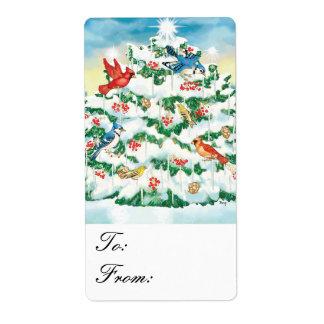 Etiquetas iluminadas del regalo del árbol de navid etiquetas de envío