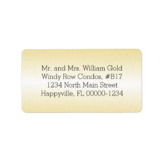 Etiquetas impresas o en blanco del remite del oro etiqueta de dirección