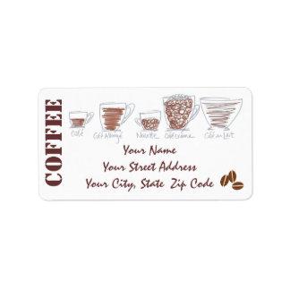 Etiquetas incompletas del remite del café de la di etiqueta de dirección