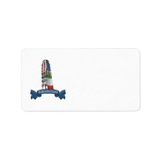 Etiquetas italianas de la torre de Pisa del americ Etiquetas De Dirección