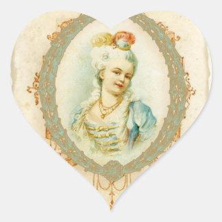 Etiquetas jovenes de los pegatinas del retrato de pegatina en forma de corazón