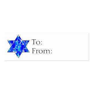 Etiquetas judías del regalo de la estrella de tarjetas de visita