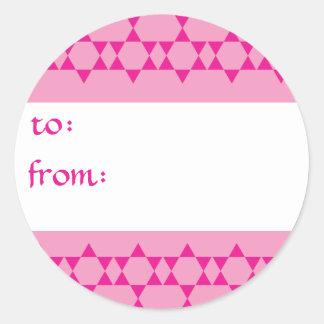 Etiquetas judías rosadas del regalo de las pegatina redonda