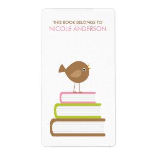 Etiquetas lindas de los Bookplates del pájaro Etiquetas De Envío