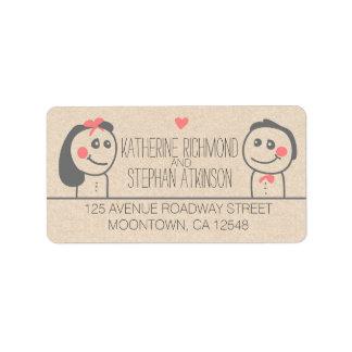 etiquetas lindas del boda del ejemplo de novia y etiquetas de dirección
