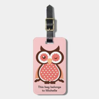 Etiquetas lindas del bolso del búho etiqueta de equipaje