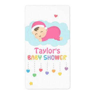 Etiquetas lindas del fiesta de ducha de la niña el etiqueta de envío