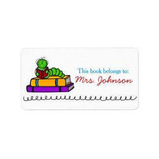 Etiquetas lindas del libro del profesor del ratón etiquetas de dirección