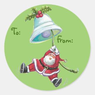 Etiquetas lindas del regalo del navidad de Santa Pegatina Redonda