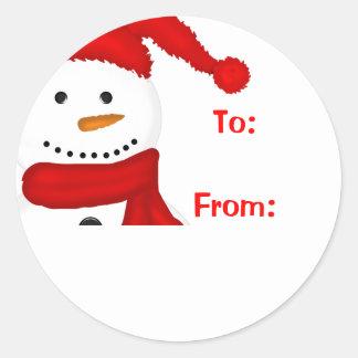 Etiquetas lindas del regalo del navidad del muñeco etiqueta redonda