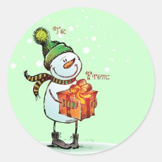 Etiquetas lindas del regalo del navidad del muñeco pegatina redonda