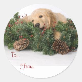 Etiquetas lindas del regalo del navidad del pegatinas redondas