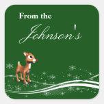 Etiquetas lindas del regalo del navidad del reno d calcomanía cuadrada personalizada
