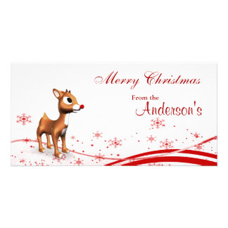 Etiquetas lindas del regalo del navidad del reno d tarjeta con foto personalizada