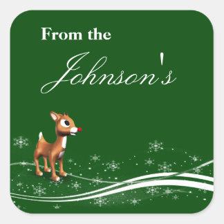 Etiquetas lindas del regalo del navidad del reno calcomanía cuadrada personalizada