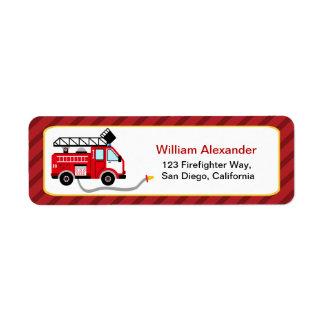 Etiquetas lindas del remite del bombero etiqueta de remitente