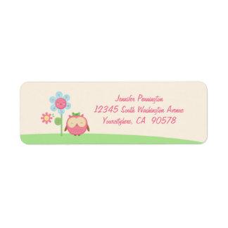 Etiquetas lindas del sobre del remite del búho del etiqueta de remite