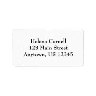 Etiquetas llanas simples blancas del remite etiquetas de dirección
