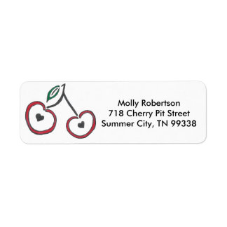 Etiquetas marcadas con hoyos corazón de la cereza etiquetas de remite