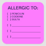 Etiquetas médicas de la carta de las alergias