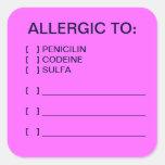 Etiquetas médicas de la carta de las alergias calcomanía cuadradas personalizada