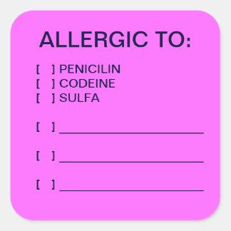 Etiquetas médicas de la carta de las alergias pegatina cuadrada