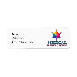 Etiquetas médicas del Transcriptionist Etiquetas De Remite