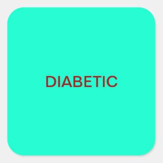 Etiquetas médicas diabéticas de la carta pegatina cuadrada