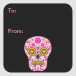 Etiquetas mexicanas rosadas del regalo del cráneo calcomanías cuadradas personalizadas