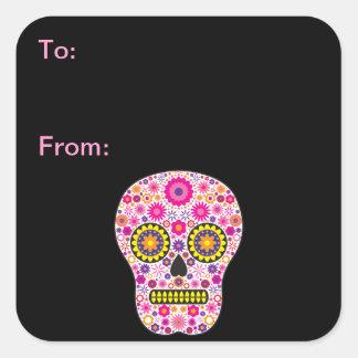 Etiquetas mexicanas rosadas del regalo del cráneo pegatina cuadrada