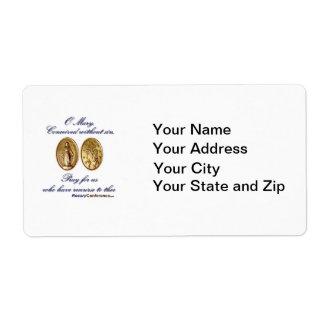 Etiquetas milagrosas de la medalla etiquetas de envío