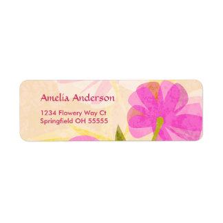 Etiquetas modernas del remite de las flores etiqueta de remite
