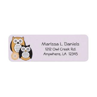 Etiquetas modernas del remite de los búhos etiqueta de remite