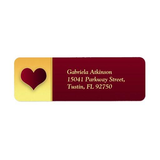 etiquetas modernas del remite del boda del corazón etiquetas de remite