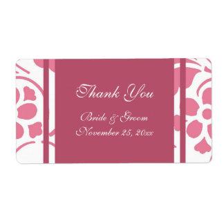 Etiquetas modernas del rosa y blancas del boda etiqueta de envío