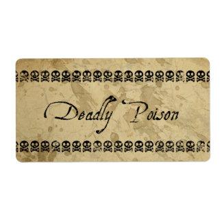 Etiquetas mortales del veneno (grandes) etiquetas de envío