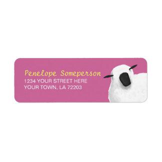 Etiquetas mullidas del remite de las ovejas etiqueta de remitente