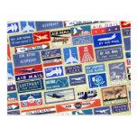 Etiquetas mundiales del correo aéreo tarjeta postal
