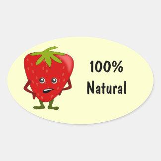 Etiquetas naturales de la comida de los pegatina ovalada